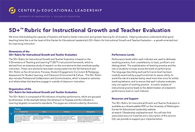 Revised 5D+™ Rubric for Instructional Growth and Teacher Evaluation Now Available